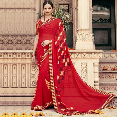 Triveni - Red Color Georgette Casual Wear Saree With Blouse Piece