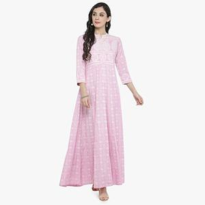 Pink Colored Printed Cotton Kurti