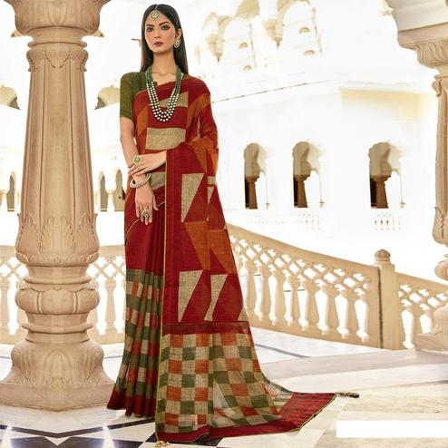 Triveni - Red Color Jute Cotton Festival Wear Saree With Blouse Piece