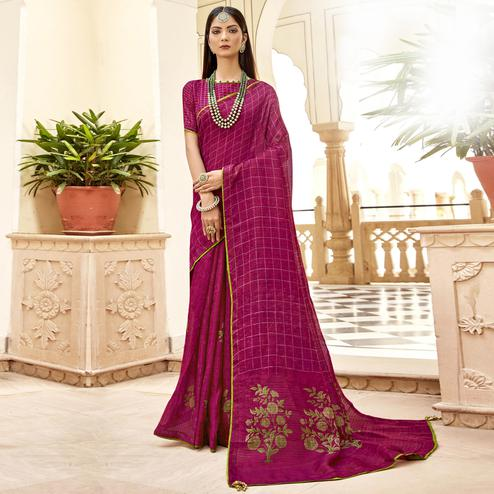 Triveni - Magenta Color Jute Cotton Festival Wear Saree With Blouse Piece