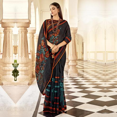 Triveni - Black Color Jute Cotton Festival Wear Saree With Blouse Piece
