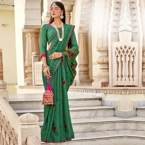 Triveni - Green Color Jute Cotton Festival Wear Saree With Blouse Piece