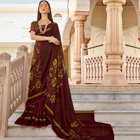 Triveni - Brown Color Jute Cotton Festival Wear Saree With Blouse Piece
