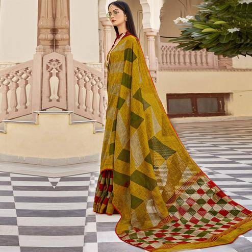 Triveni - Multi Color Jute Cotton Festival Wear Saree With Blouse Piece