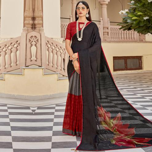 Triveni - Black & Red Color Jute Cotton Festival Wear Saree With Blouse Piece