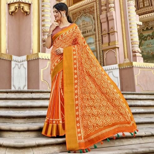 Triveni - Orange Color Cotton Casual Wear Saree With Blouse Piece
