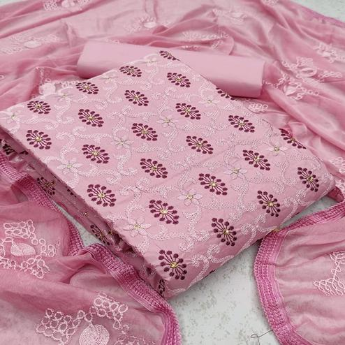 Blissful Pink Colored Partywear Embroidered Cotton Dress Material
