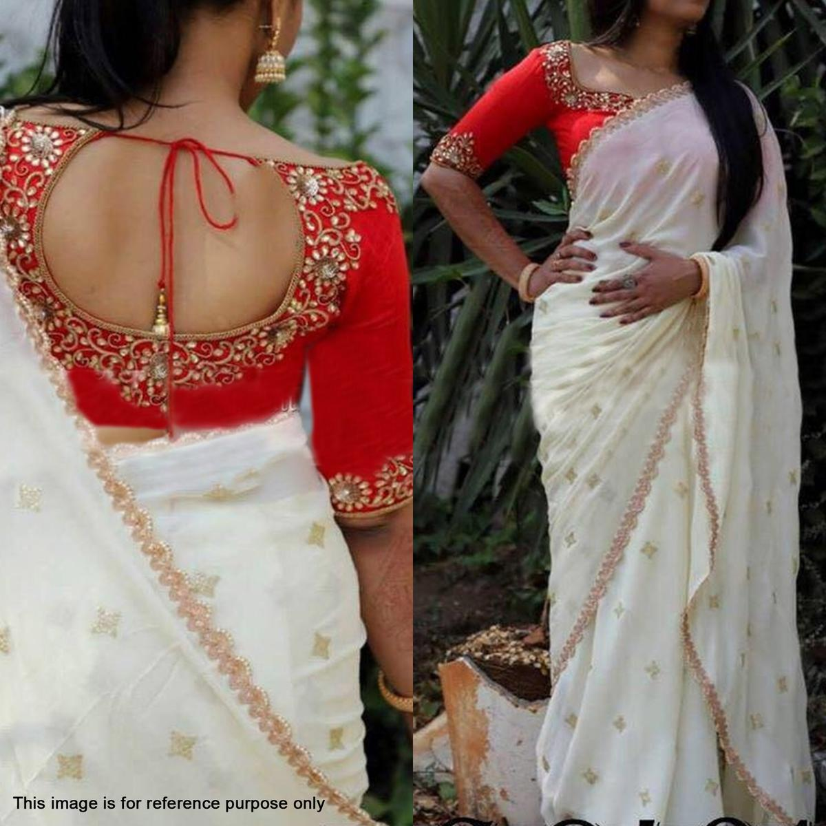 Elegant Off White Designer Sequence Embroidery Work Georgette Saree