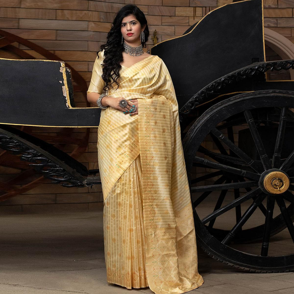 Alluring Cream Colored Festive Wear Woven Banarasi Silk Saree