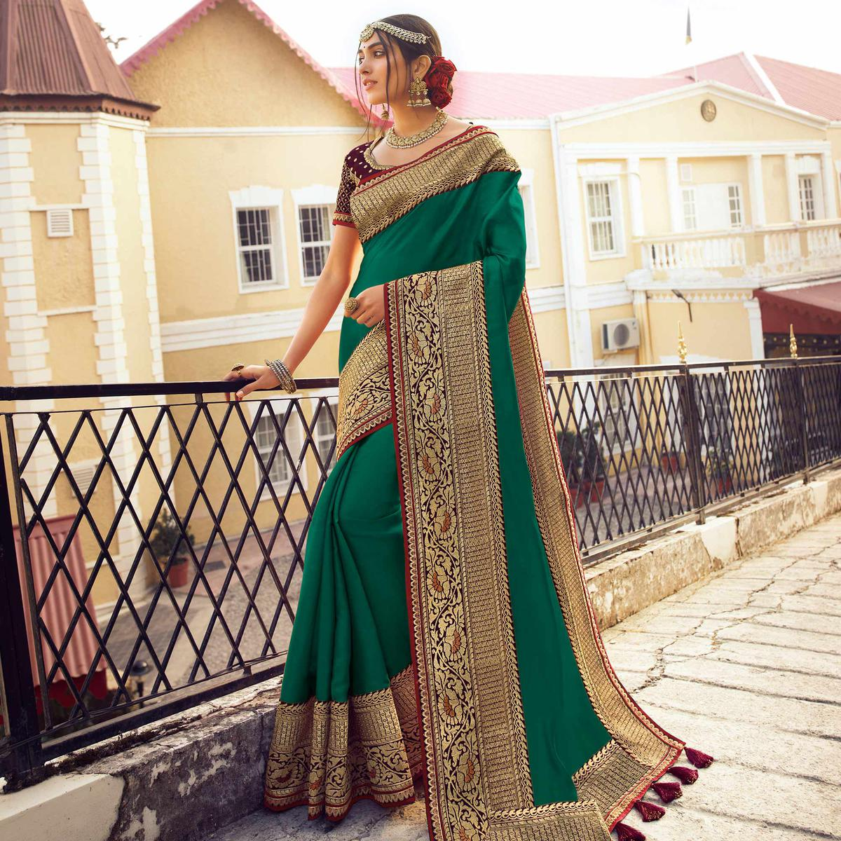 Capricious Green Colored Partywear Embroidered Pure Tassar Saree