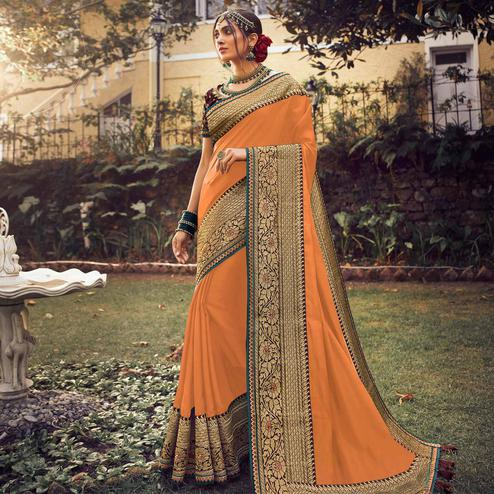 Entrancing Orange Colored Partywear Embroidered Pure Tassar Saree