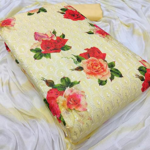 Adorable Yellow Colored Partywear Floral Embroidered Cotton Dress Material