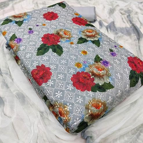 Attractive Grey Colored Partywear Floral Embroidered Cotton Dress Material