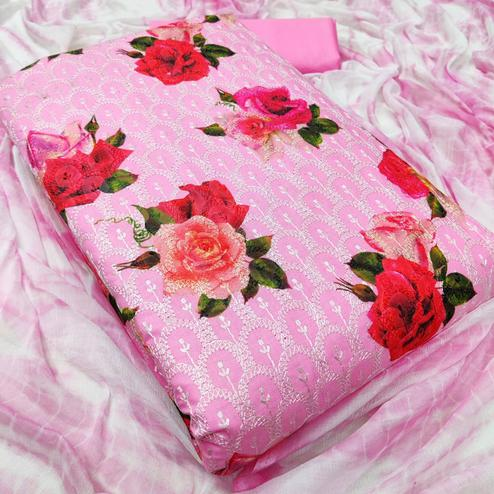 Beautiful Pink Colored Partywear Floral Embroidered Cotton Dress Material