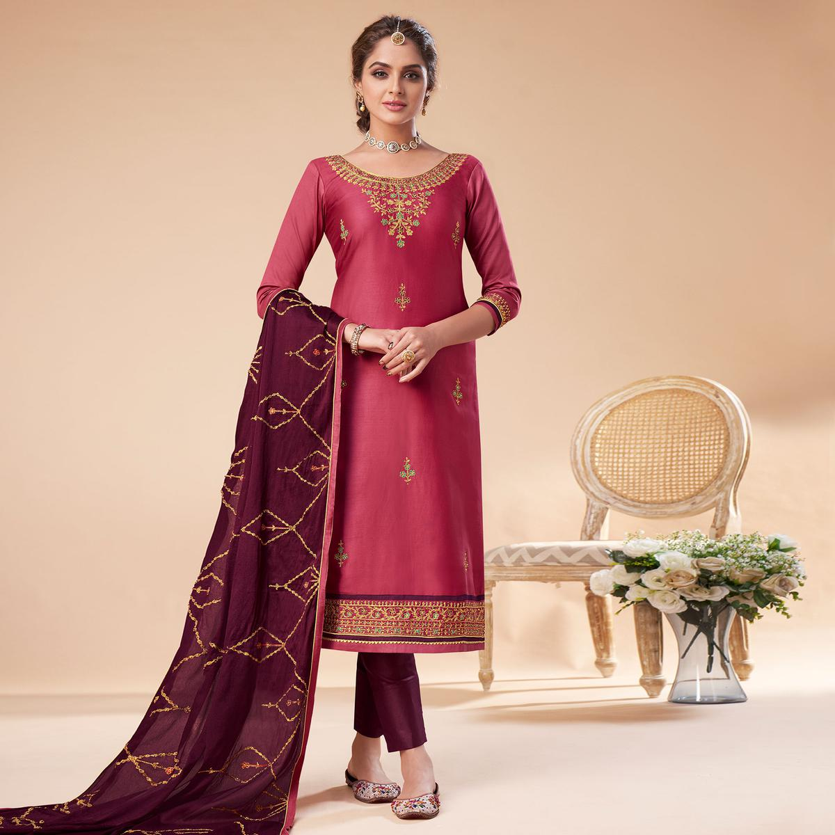Amazing Pink Colored Partywear Embroidered Jam Silk Suit