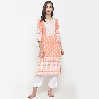 Peach Colored Printed Cotton Kurti