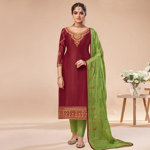 Blissful Maroon Colored Partywear Embroidered Jam Silk Suit