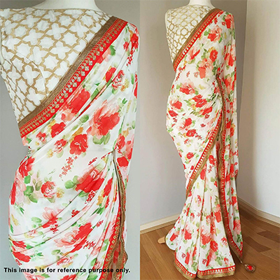 Mesmerising White Designer Floral Printed With Embroidered Sequence Lace Work Georgette Saree