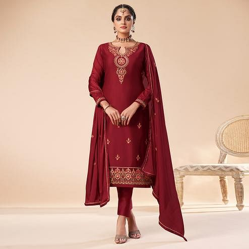 Ravishing Maroon Colored Partywear Embroidered Jam Silk Suit