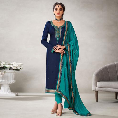 Sophisticated Navy Blue Colored Partywear Embroidered Jam Silk Suit