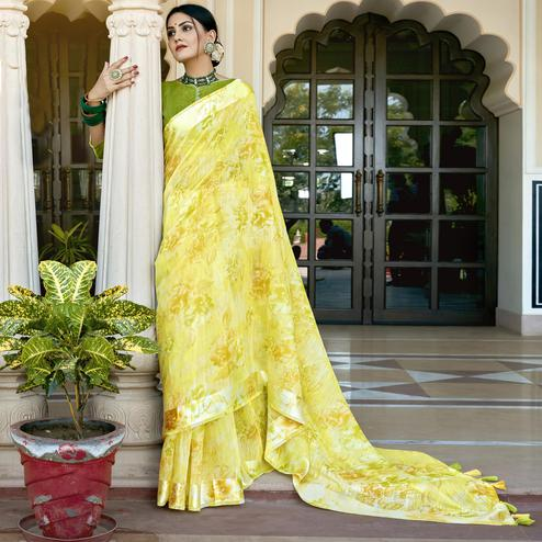 Triveni - Yellow Color Cotton Festival Wear Saree With Blouse Piece