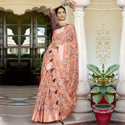 Triveni - Peach Color Cotton Festival Wear Saree With Blouse Piece