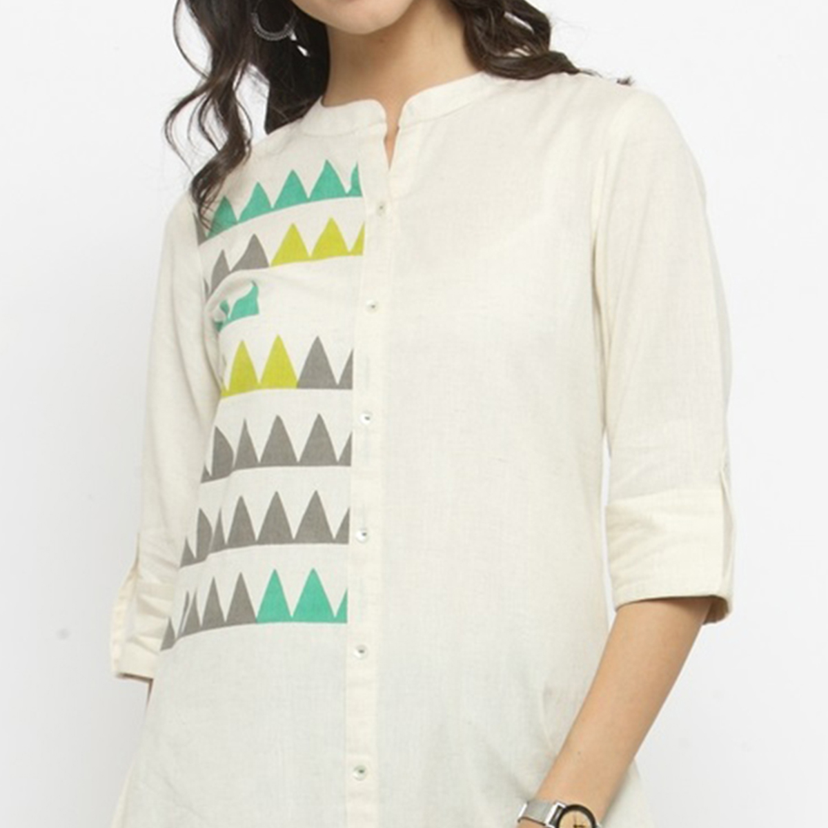 Cream Colored Printed Cotton Kurti