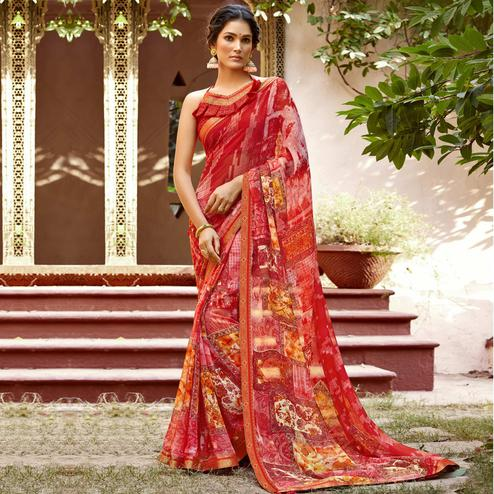 Triveni - Red & Pink Color Chiffon Casual Wear Saree With Blouse Piece