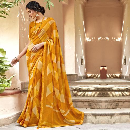 Triveni - Yellow Color Chiffon Casual Wear Saree With Blouse Piece