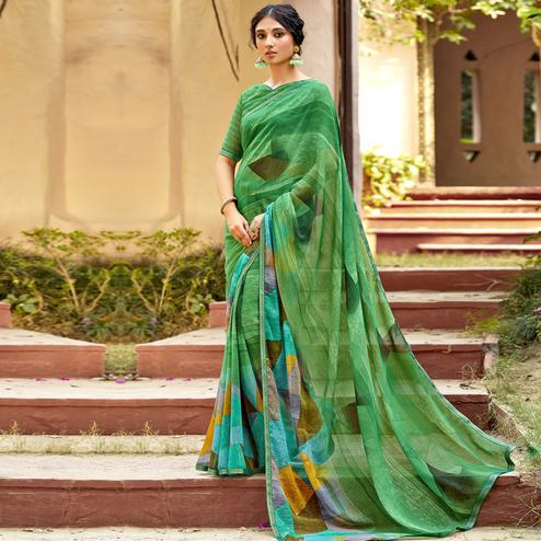 Triveni - Green Color Chiffon Casual Wear Saree With Blouse Piece