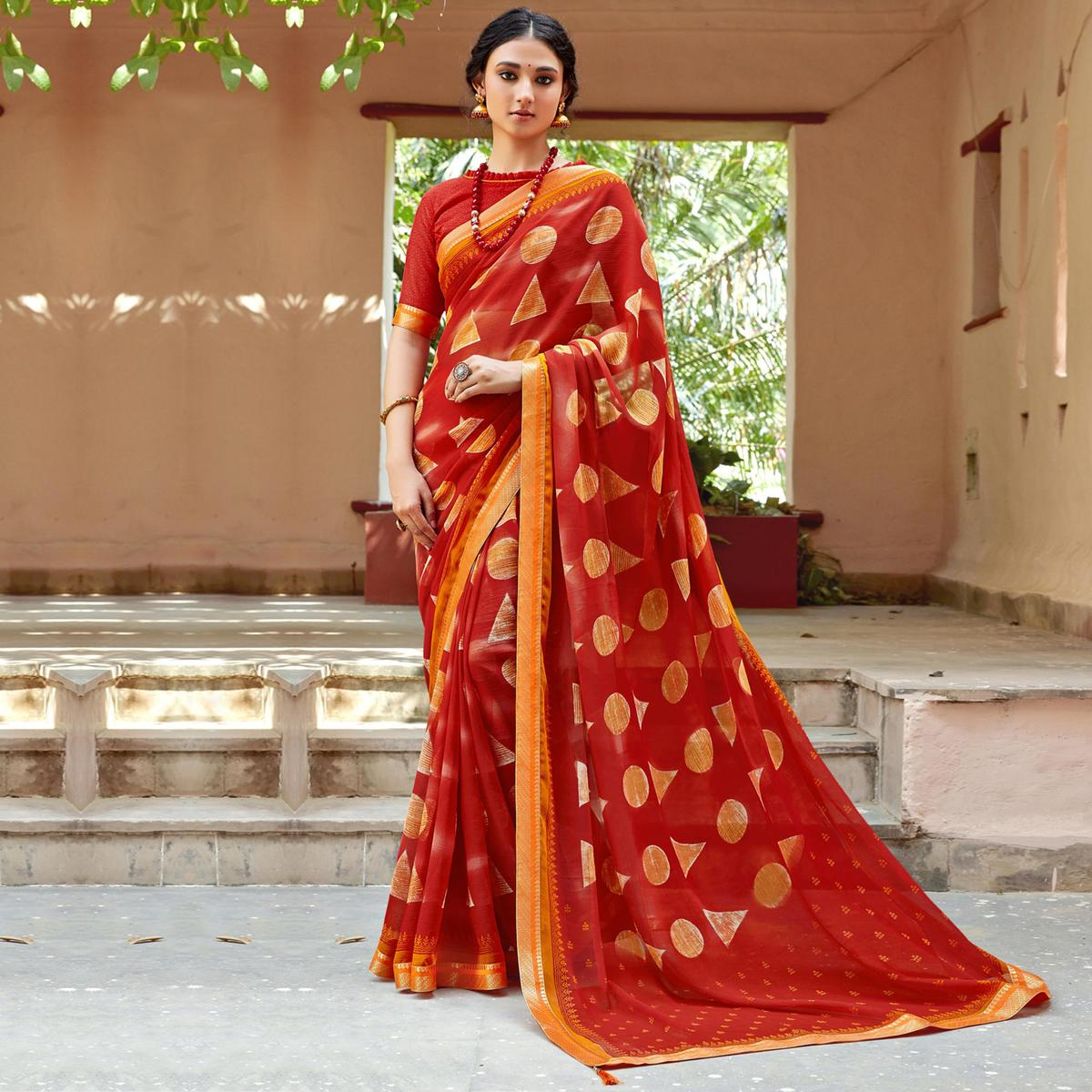 Triveni - Red Color Chiffon Casual Wear Saree With Blouse Piece