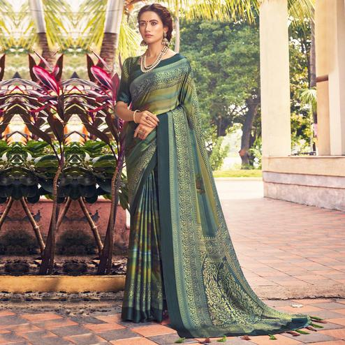 Triveni - Green & Blue Color Crepe Silk Casual Wear Saree With Blouse Piece