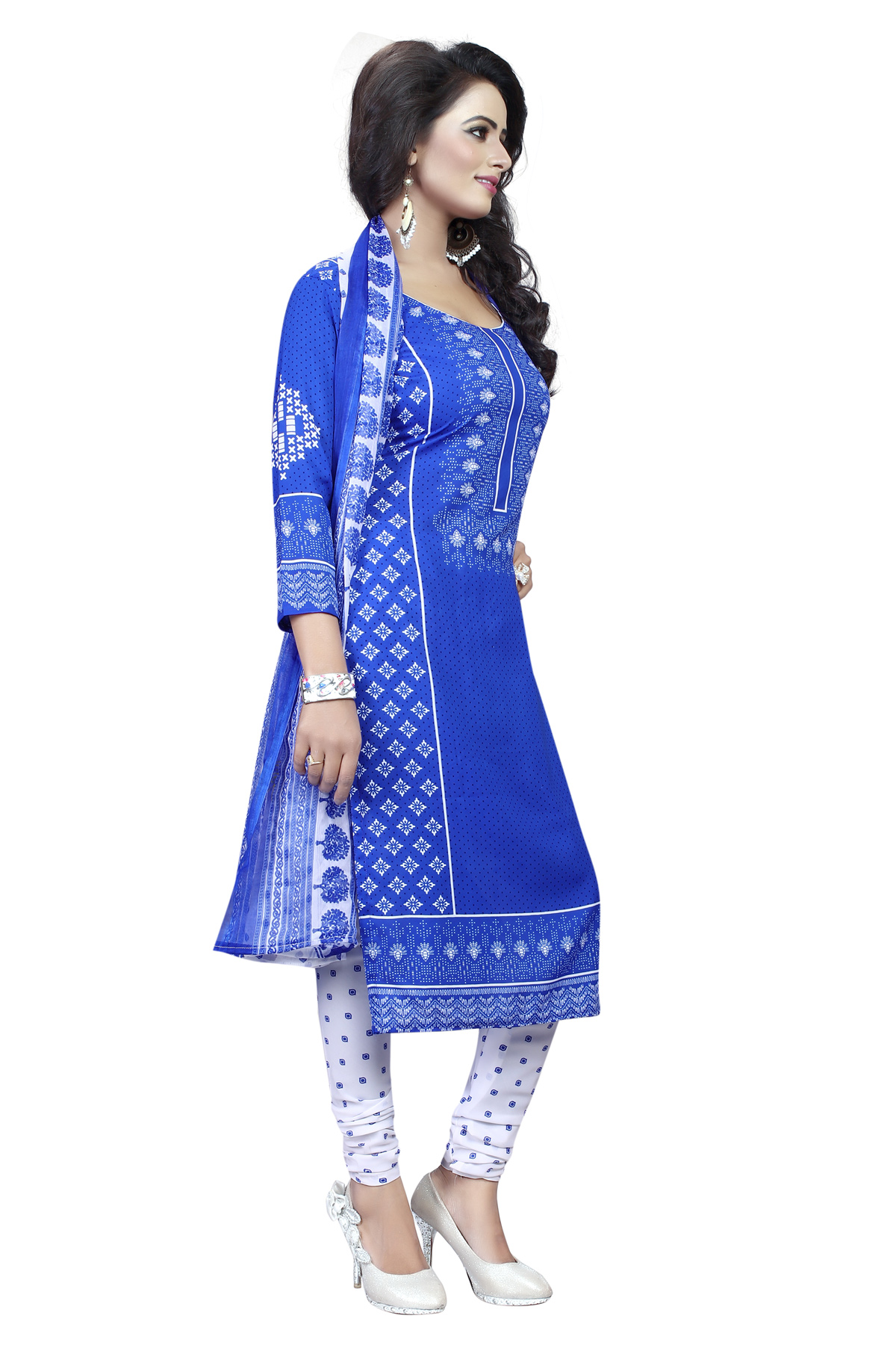 Blue - White Leon Fabric Printed Suit
