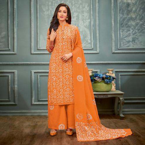 Beautiful Orange Colored Casual Hand Printed Cambric Cotton Dress Material