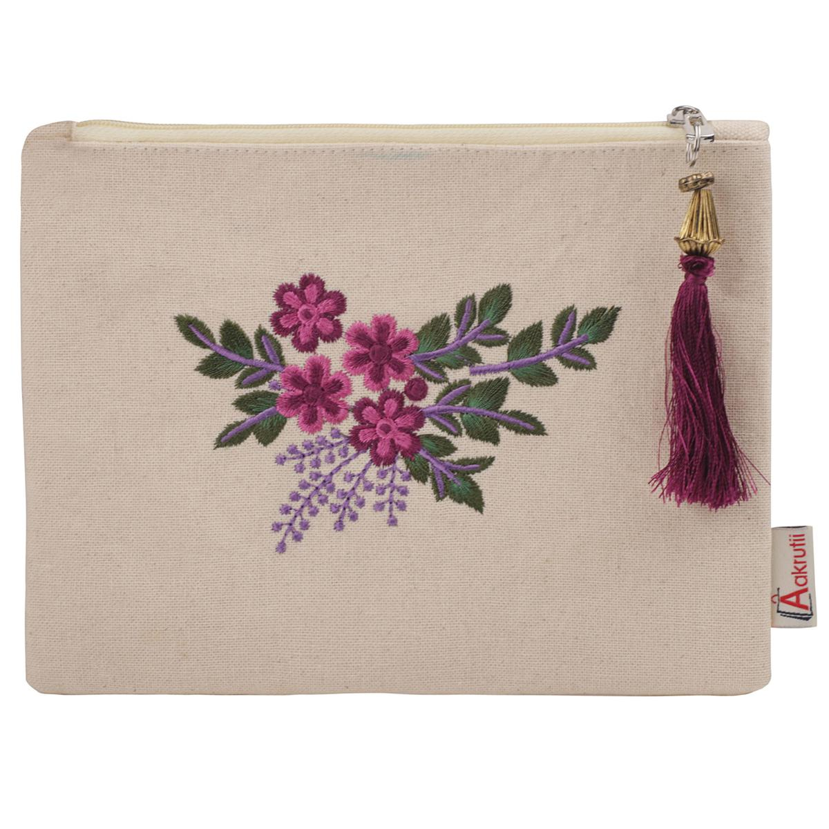 Aakrutii - Women's Eco Friendly Cotton Zipper Pouch Wallet (Pink and Purple)