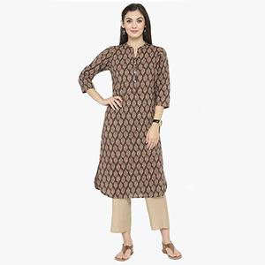 Brown Colored Printed Cotton Kurti