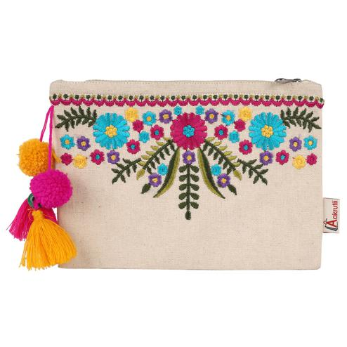 Aakrutii - Eco Friendly Cotton Zipper Pouch for Women (Natural Beige)