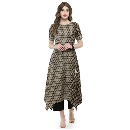 Brown Colored Printed Rayon Kurti