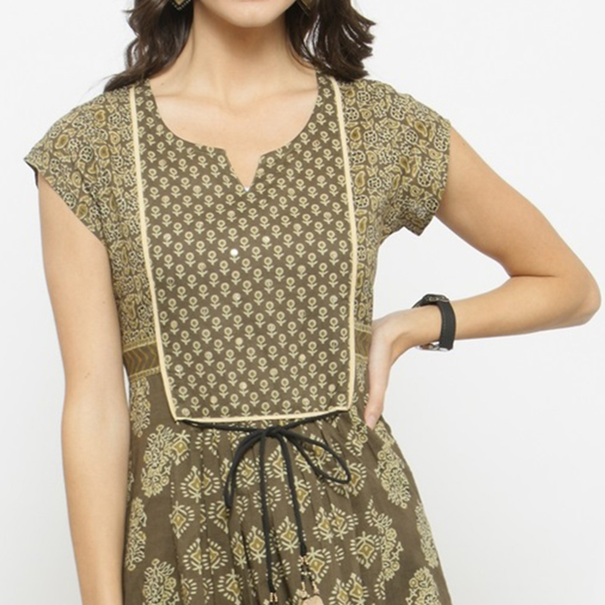 Mehndi Green Colored Printed Cotton Kurti