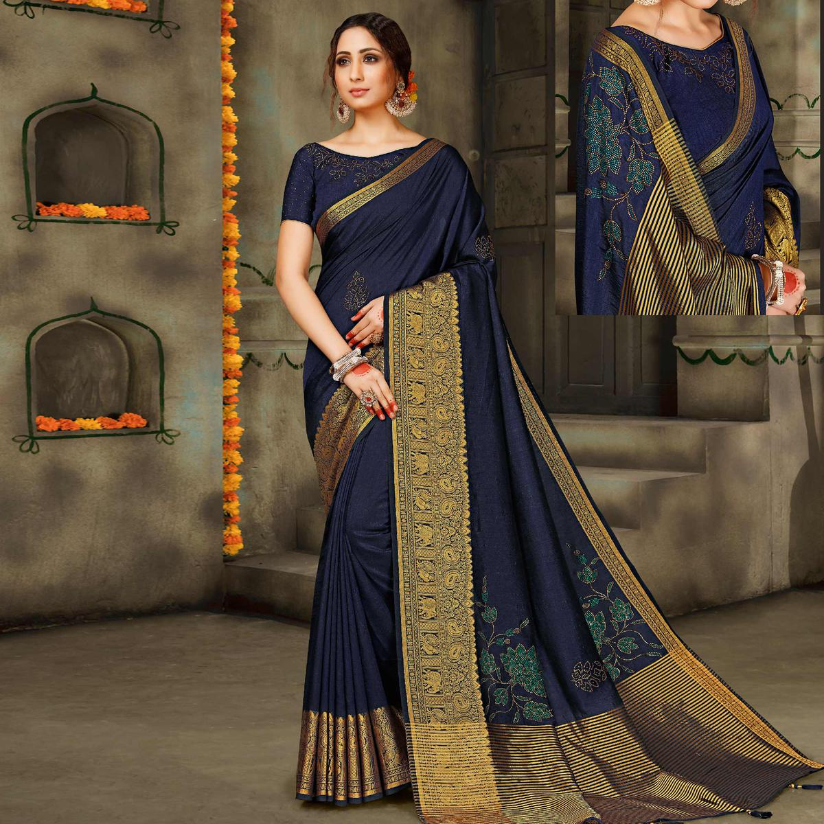 Magnetic Navy Blue Colored Festive Wear Woven Silk Saree