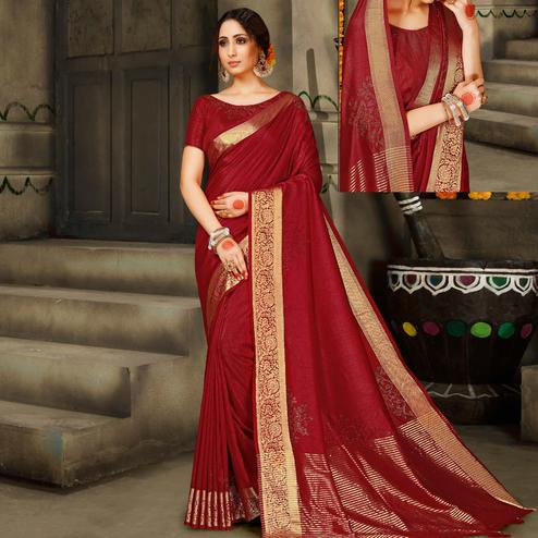 Excellent Maroon Colored Festive Wear Woven Silk Saree