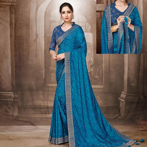 Classy Blue Colored Festive Wear Woven Silk Saree