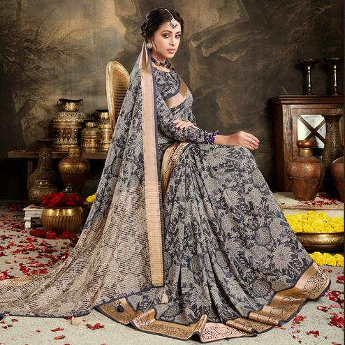 Innovative Black - Grey Colored Festive Wear Woven Silk Saree
