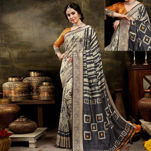 Amazing Cream - Black Colored Festive Wear Woven Silk Saree