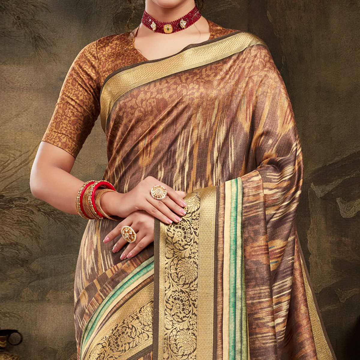 Lovely Brown Colored Festive Wear Woven Silk Saree