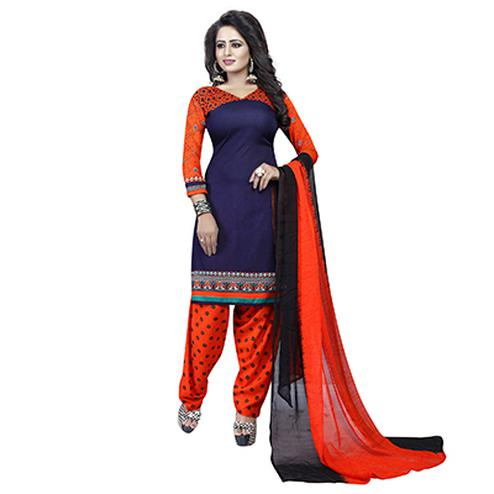 Navy Blue - Orange Casual Printed Salwar Suit
