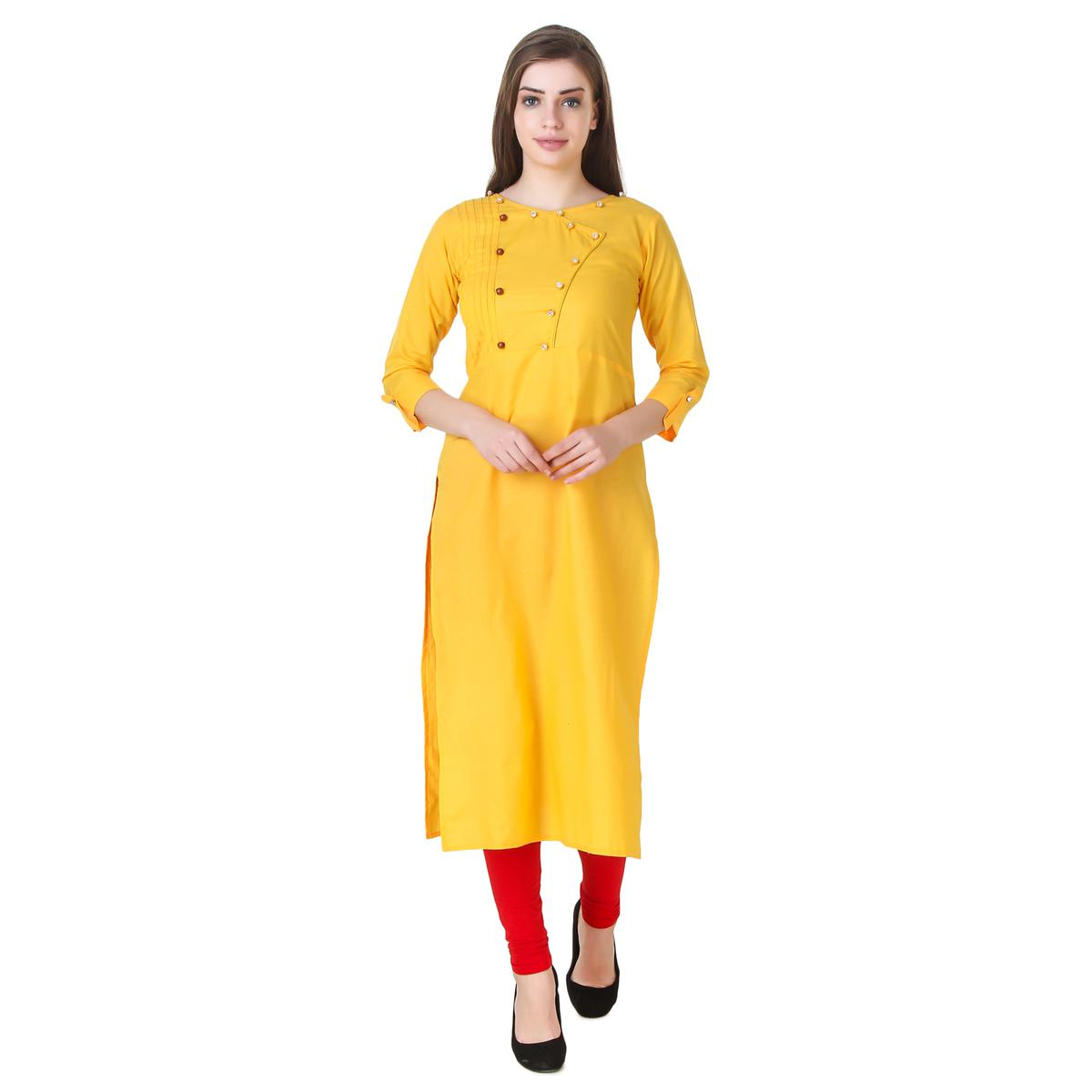 Yellow Colored Casual Wear Cotton Kurti