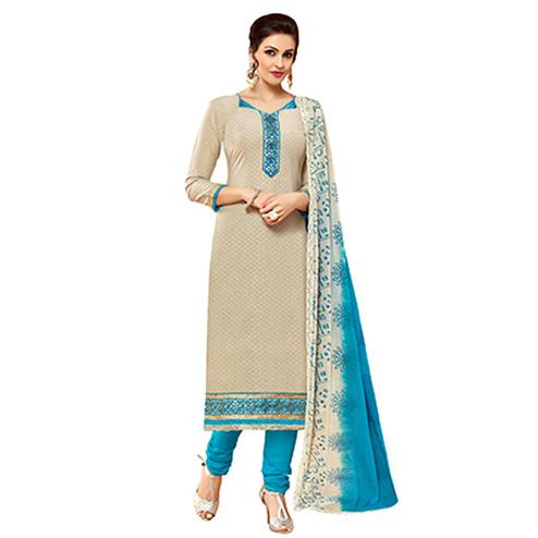 Beautiful Beige-Blue Colored Embroidered Cotton Dress Material