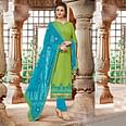 Adorable Green-Blue Colored Embroidered Cotton Dress Material