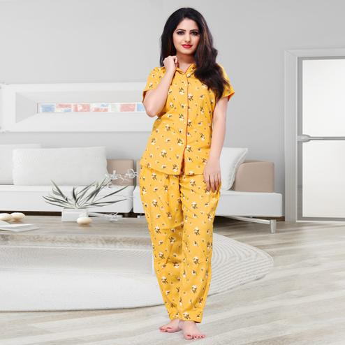 Pleasant Yellow Colored Printed Cotton Rayon Night Suit